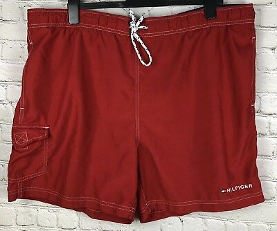 Tommy Hilfiger Bathing Suit Mens XL Spell Out EUC Red