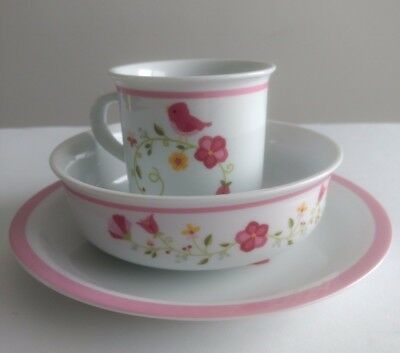 FAO Schwarz Childrens Girls Dinnerware Cup Bowl Plate Pink F.A.0 Porcelain Kids