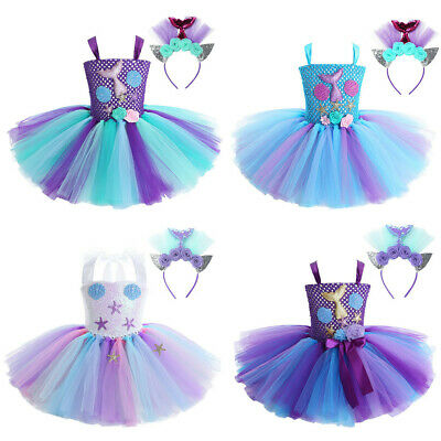 Kids Girls Mermaid Costume Tiered Mesh Tutu Dress Party Princess Cosplay Outfit