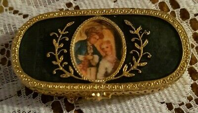 Vintage Estee Lauder Compact Solid Perfume Compact Gold and Blue Toned Victorian