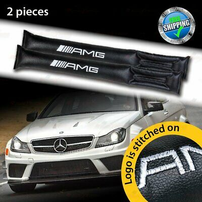 BLACK Leather Leak Proof Gap Cushion Filler Car Seat Blocker Pads for Benz AMG