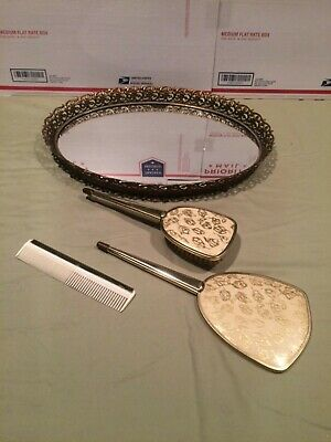 Vintage Large Silver& Gold ToneVanity Brush and Hand Held Mirror Set  Nice!