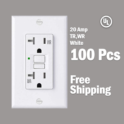 20 AMP GFCI White (100 Pcs) Receptacle Outlet -TR & WR SELF TEST 2015 UL