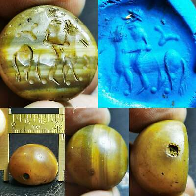 Near Eastern Old Beautiful Agate stone intaglio seal stone BEAD  # 99