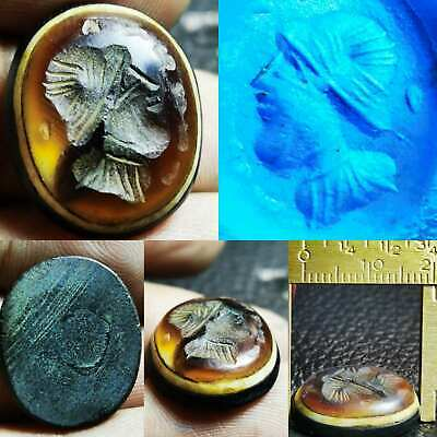 Sulaimany Agate Old stone intaglio emperor face seal stamp    # 99