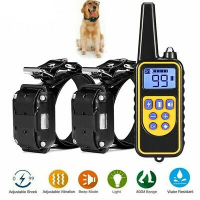 Waterproof Electric 800m LCD Remote Pet Trainer 1 or 2 Dog Shock Training Collar