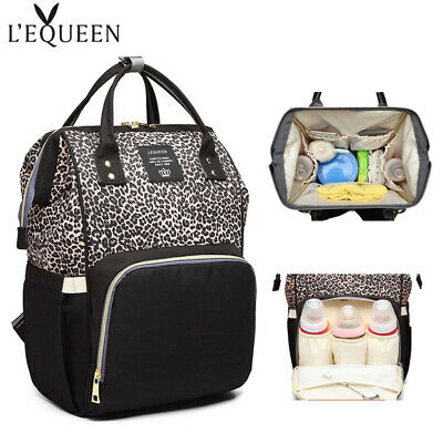 Lequeen Diaper Bag Leopard Baby Nursing Nappy Travel Maternity OrganizerBackpack