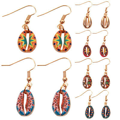 Retro Women Floral Cowrie Shell Dangle Hook Earrings Summer Beach Jewelry Gift