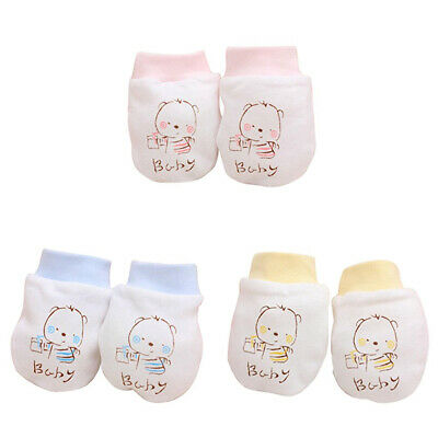 KF_ 2 Pairs Baby Infant Boys Girls Anti Scratch Mittens Soft Newborn Gloves Be