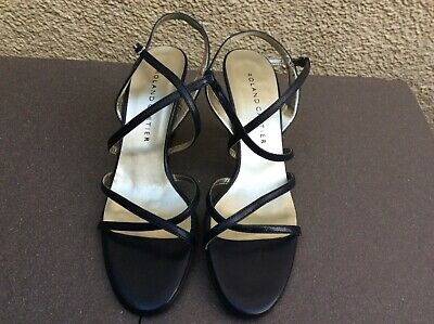 New Roland Cartier Navy Blue Crossover Strappy Slingback Heels 7 1/2Uk/40 1/2Eur