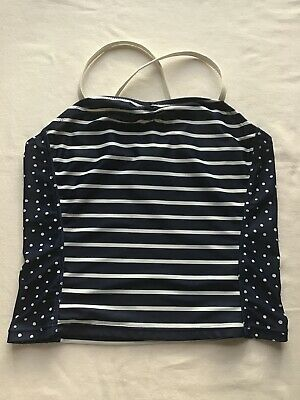 Girls Age 12 Years Swim Tankini Top Next Navy Spots/Stripes Design