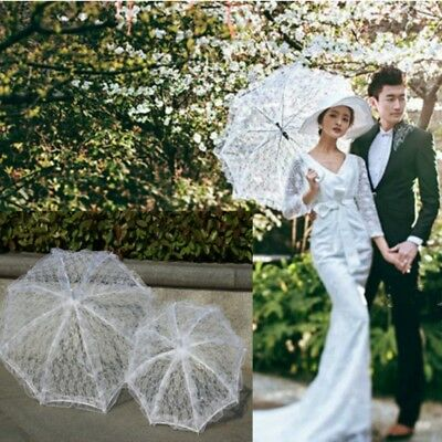 Vintage Mesh Lace Umbrella Parasol Wedding Bridal Party Sunshade Decor White New