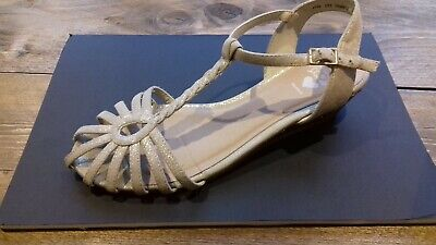 Girls Gold Neutral Partry Shoes Sparkly Size 3 Debehams