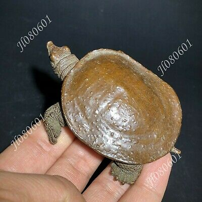Chinese Collectible Old Pure Solid Copper Handwork Soft-Shelled Turtle Statue