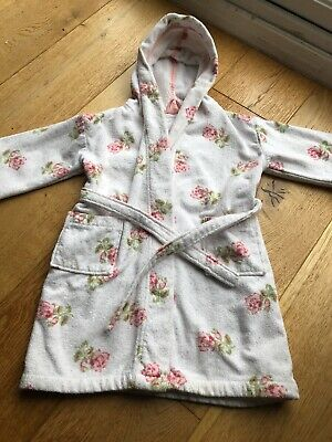Girls White Floral Dressing Gown , The Little White Company Age 3-4 With Bag