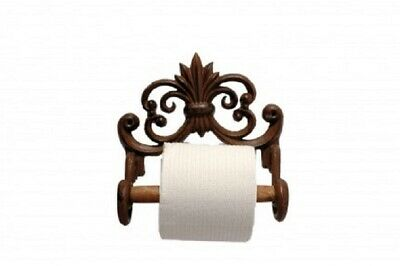 Shabby Vintage Chic Metal Toilet Roll Holder Brown Ornate