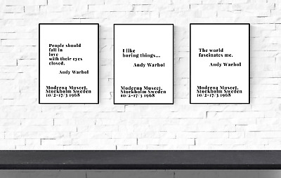 gift Andy Warhol set of 3 Prints  quotes New home