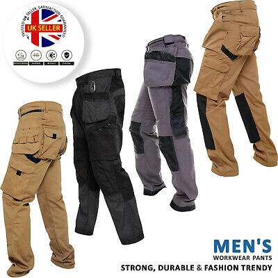 Mens Heavy Duty Work Trousers Cargo Combat Style Knee Pad Pocket Workwear Pants