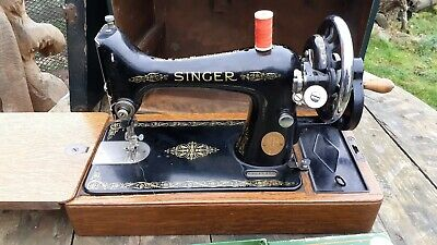 ANTIQUE SINGER 99K 1935  HAND CRANK SEWING MACHINE,CASED/KEY attachments