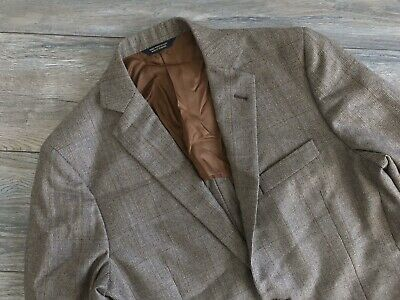 Brooks Brothers Fitzgerald Brown Check Plaid Vented Blazer Suit Jacket 40S