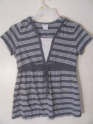 Oh Baby Motherhood Women's Maternity Top Size Medium M Gray Striped Short Sleeve