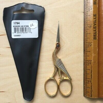 """Solingen 4"""" Embroidery stork Scissors made in Germany Needlework cross stitch"""