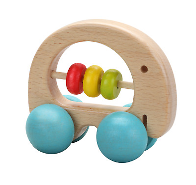 Classic World - Wooden Elephant Rattle Clutch Toy and Push Along Toy