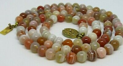 Vtg Chinese Export Banded Agate Stone Bead Necklace Silver Vermeil Clasp