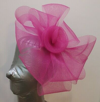 bright hot pink fascinator headband headpiece wedding party race ascot bridal
