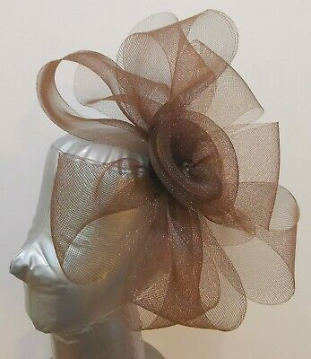 chocolate brown fascinator headband headpiece wedding party race ascot bridal