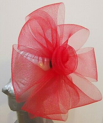bright red fascinator headband headpiece wedding party race ascot bridal