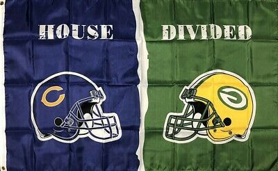 Chicago Bears vs Green Bay Packers House Divided Flag 3x5 ft NFL Sports Banner