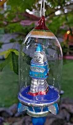 "ROBOT ASTRONAUT  SPACESHIP GLASS ORNAMENT 6"" Retro Sci Fi NEW Blue"
