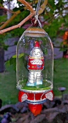 "ROBOT ASTRONAUT  SPACESHIP GLASS ORNAMENT 6"" Retro Sci Fi NEW red"