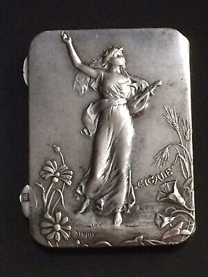 Antique French E . DROPSY Art Nouveau Silver Plated Stamp Case Box Signed