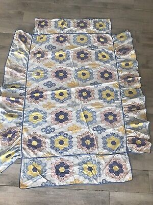 Vintage 1950's Crib Skirt DUST RUFFLE Quilted Patchwork Hexagon Colorful Floral