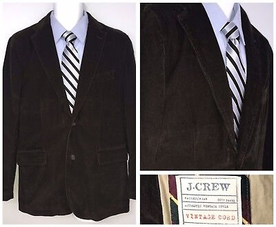J Crew Men's Corduroy Sport Coat Blazer  Jacket Brown 2 button Vintage Cord Sz M