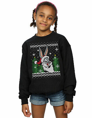 Looney Tunes Girls Bugs Bunny Christmas Fair Isle Sweatshirt