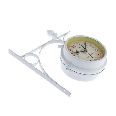 DOUBLE SIDED DUAL CLOCK STATION GARDEN OUTDOOR WALL MOUNT -White