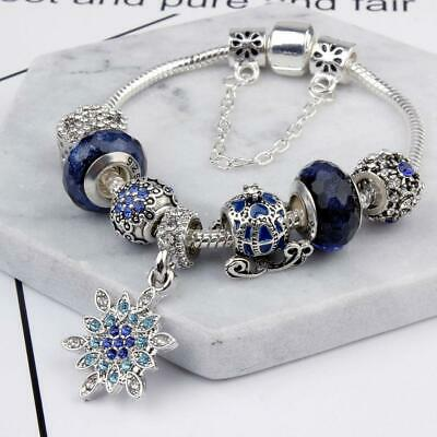 Pandora Charm Authentic Bracelet LOVE STAR with European Charms Silver Blue NEW
