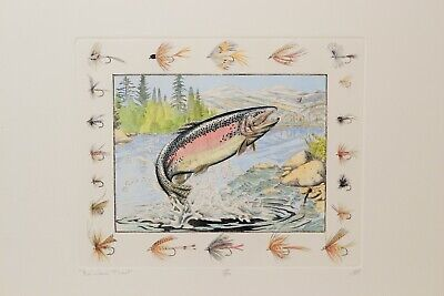 Rainbow Trout Framed Limited Edition Print by Mark A Susinn At the Last Second