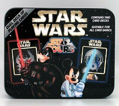 NEW STAR WARS 2 DECKS PLAYING CARDS DISNEY CHARACTERS IN TIN Sealed