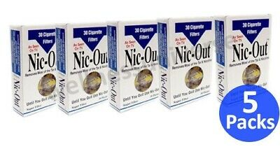 NIC-OUT Disposable Cigarette Filters, 5 Packs (150 Filters) +1 FREE Lighter