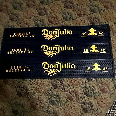 "Donjulio Bar Mats 23"" X 3 1/2"" Set Of 3 New Black/Yellow New"