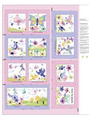 Susybee Flutter The Butterfly Book/Quilt  Panel * Sweet * New * Free Post *