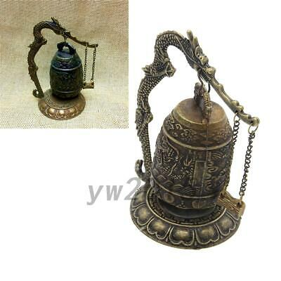 Chinese Dragon Retro Alloy Tibet Carved Dragon Buddha Bell Decoration
