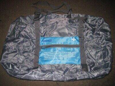 Happy Flight Folding 32L Travel foldable Bag duffle with straps GRAY Blue NWOT