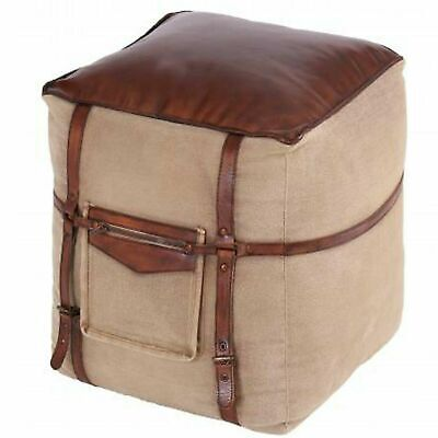 Quality Genuine Leather and Canvas Pouffe Footstool Square Vintage Retro Home