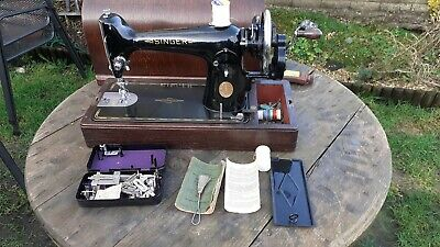 SINGER 201k heavy duty sewing machine.semi industrial leather canvas tools book