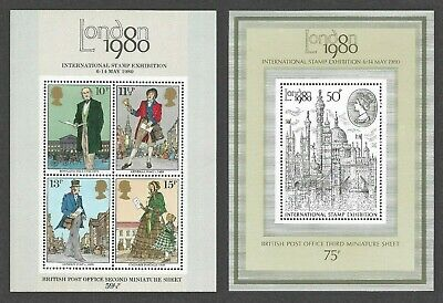 QEII London 1980 Stamp Exhibition & Rowland Hill Mini Sheets MNH MS1099 & MS1119